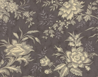 ATELIER 3 Sisters Moda Fabric 1/2 yd French flowers ferns shabby quilt sewing Cottage romantic dark taupe background half yard 44052-26