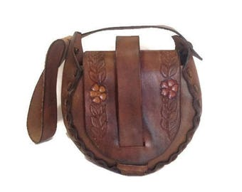 Vintage Tooled Leather Saddle Bag, 1970s Leather Purse , Hippie Boho
