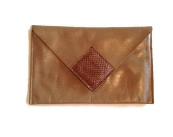 Leather Reptile Envelope Clutch,  David mehler for Dame, Designer Leather Bag