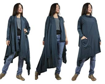 2 in 1 - Long Sleeve Or Sleeveless Asymmetrical Hem Blueish Charcoal Cotton Mix Polyester Tunic Wrap Cardigan Or Vest
