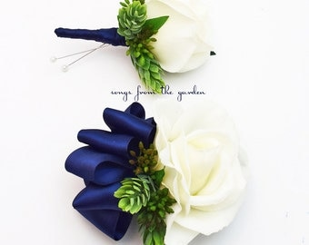 White and Navy Real Touch Rose Wedding Boutonniere & Wedding Wrist Corsage - Accented with Hops and Eucualyptus