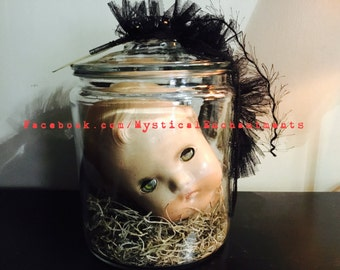 Large mIsFiTs Creepy Vintage Doll head in a glass Apothecary Jar