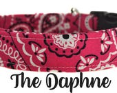 "Pink and White Bandana Dog Collar ""The Daphne"""
