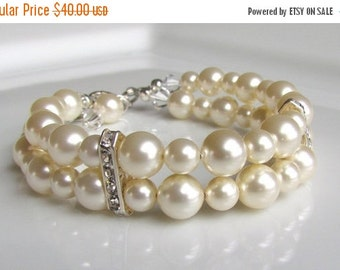 Pearl Bracelet, Ivory Pearl Bracelet, Pearl Bridesmaid Bracelet, Multistrand Pearl Bracelet, Pearl Cuff, Pearl Wedding Jewelry, Sterling