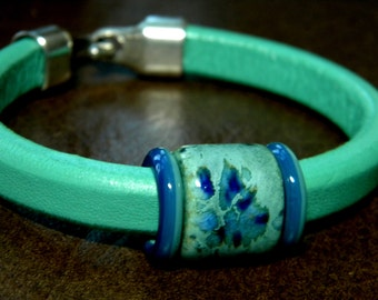Turquoise Leather Bracelet with Ceramic and Glass Accent Beads