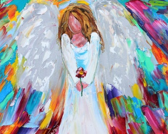 Original oil painting Angel with Flower abstract palette knife impressionism on canvas fine art by Karen Tarlton