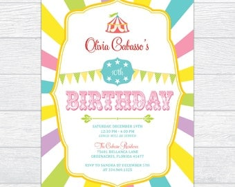 Circus Birthday Invitation, Circus Themed Party Invitation, Colorful Circus Birthday Invitation, Cheerful  Circus Kids Birthday Invitation
