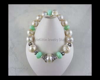 White Kasumi Pearl and Macedonian Green Opal 925 Sterling Silver Stretch Bracelet, Marcasite, Ripple, Wrinkle, Baroque, Gemstone, Jewelry