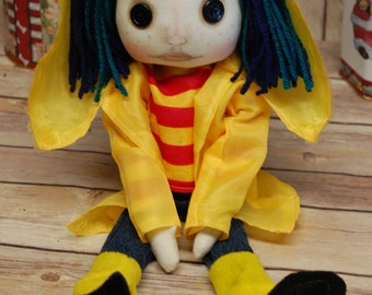 Coraline Button Eye Doll Inspired  Creepy cute OOAK Handmade Art doll cloth doll collectable Gothic decor rag doll seeing looking stone