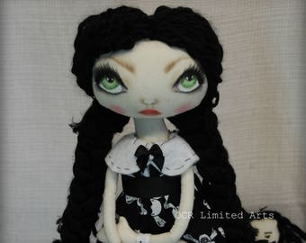 ON SALe WEDNESDAY & her Doll Gothic primitive folk art Doll OOAK Dark  Emo collectable Big eyes enchantic Creepy Cute