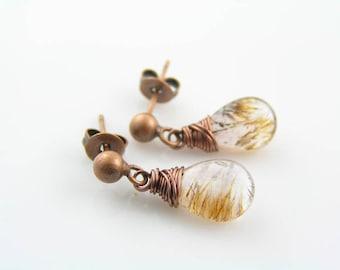 Wire Wrapped Earrings with Moss Quartz, Copper Stud Earrings, Quartz Earrings, Antique Copper Earrings, Rutilated Quartz Jewelry, e2248