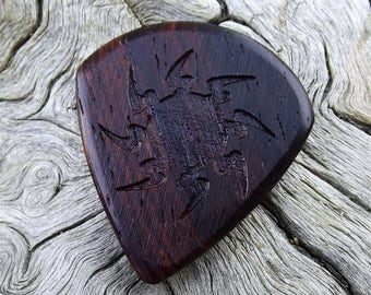 Wood Guitar Pick - Premium Quality - Handmade From Cocobolo Rosewood - Laser Engraved On Each Side - Artisan Guitar Pick - Mini Jazz Stubby
