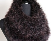 Brown Eggplant Color Faux Fur Yarn Knitted Capelet Brown Color Cowl Infinity Scarf