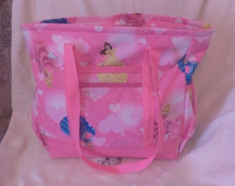 Pink Disney Princesses Tote Bag, Diaper Bag, Carry-On Bag, Book Bag