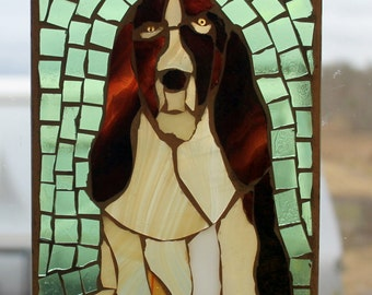 Stained Glass Puppy, Beagel  ,Stained Glass Mosaic, Dog , Wall Art Panel, WINDOW Panel, SUNCATCHER