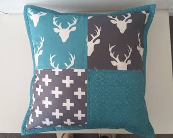 Woodland nusery cushion,  turquoise and grey