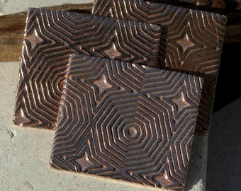 Rectangle 25mm x 22mm in Hexagon Pattern for Enameling Stamping Texturing - Variety of Metals