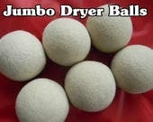 6 JUMBO Alpaca Wool Dryer Balls - Straight from the Farm - Felted Natural Creamy White and Tan - No Dyes - Six XL