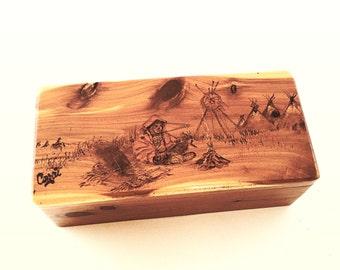 Keepsake Box for Men, Custom Message, Rustic Cedar box, Rustic Wood Burned Decor, Native American Theme, Rustic Small Box, Wooden Gift Box