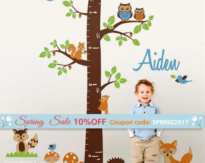 Woodland Animals Wall Decal, Personalized Growth Chart Nursery Wall Decal Kids Vinyl Wall Decal Baby Room Decor Fox Owls Racoon Squirrels