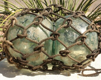 Antique Double Glass Fishing Float Bianary with Rope Chinese Japanese Nautical