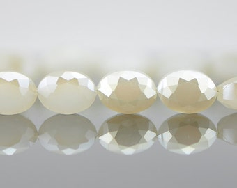 Oval Crystal Glass Faceted beads 12mm White Champagne Sparkle (TS01-7)/ 58pcs