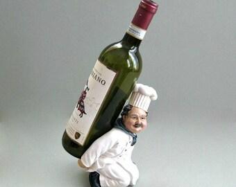 Wine Holder Wine Bottle Holder Wine Rack Wine Bottle Rack French Chef Decor Italian Chef Cook Decor Kitchen Decor Kitchen Decoration Bistro