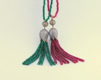 Red Garnet and Green Garnet Tulip Necklace,Bronze Tulip Pendant, Zirconia Stone, Traditional Necklace