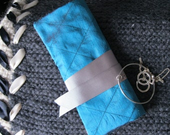 Quilted Silk Jewellery Roll - teal dupion silk, floral, gift for her, Valentine, traveller