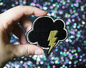Lightning Brooch, Weather Pin, Cloud Badge, Silver Lining