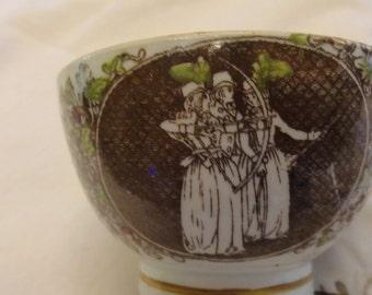 ANTIQUE 1800s  Handleless Tea Cup Archery Theme Jane Austen Transferware