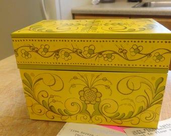 Vintage RECIPE BOX 1970s Floral Metal File Box