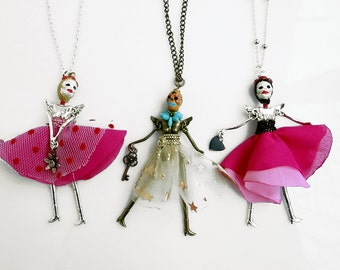 Skeleton Doll Necklace, Skull Necklace, Frida Charm Necklace, Dancer Girl Day of the Dead Necklace