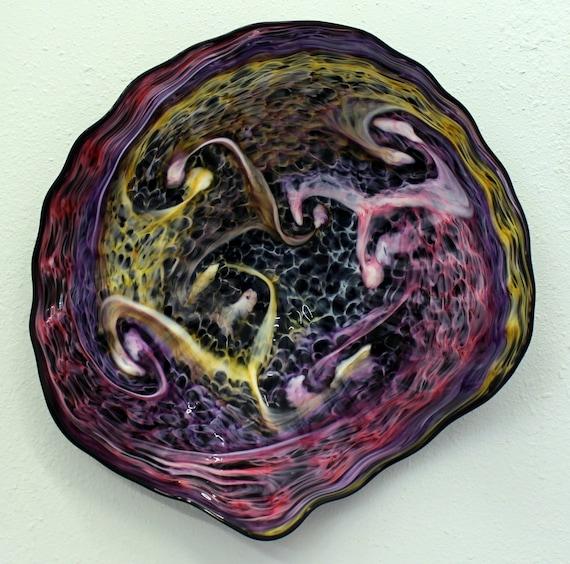 beautiful hand blown glass art wall platter bowl 7154 pink. Black Bedroom Furniture Sets. Home Design Ideas