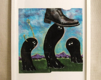 Vintage Painting, Surreal Art, Fine Art, Original, Works on Paper, Framed, Boot, Black Boot, Fish Hook, Contemporary Art, Modern, Landscape