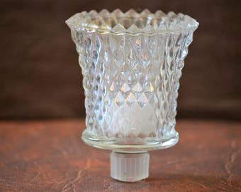 Glass Votive Cups/Crystal Diamond Votive Cup Holders/Home interiors Gifts Inc/Sconce Votive Cups/Model 1241/70s