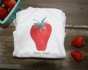 Berry Sweet strawberry baby onesie