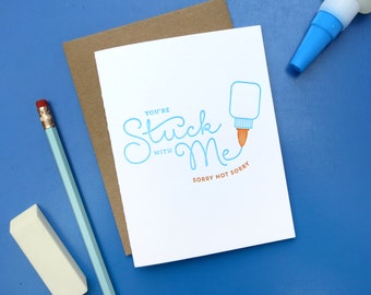 stuck with me letterpress card