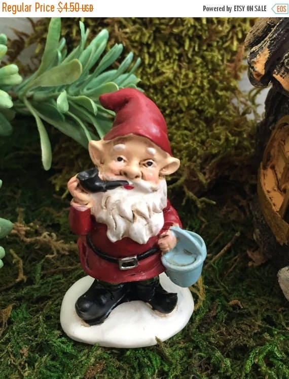 SALE Mini Garden Gnome Smoking Pipe with Red Hat and Jacket, Fairy Garden Accessory, Garden Decor, Miniature Gardening
