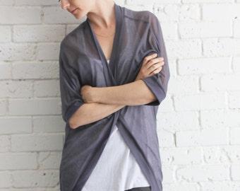 Oversized wrap bat sleeve cardigan / Dark grey open cardigan