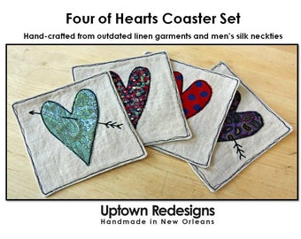 Set of 4 Heart Coasters - Silk on Linen, Recycled, Upcycled Fabrics, Hearts, Valentines, Love, Cocktails