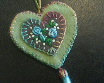 Embroidered floral wool felt heart ornament green and brown earth tones