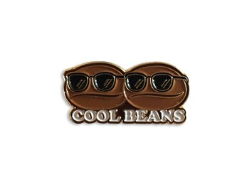 Cool Beans Enamel Pin – Lapel, Coffee Bean, Soft Enamel, 90s