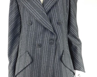 Karl Lagerfeld Vintage Wool Grey Pinstripe Double Breasted Blazer Coat, Size 42/6
