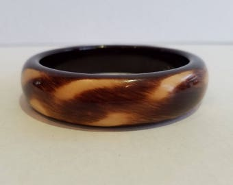 Vintage Brown and White Swirl Animal Print Lucite Bangle Bracelet