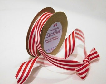 Red & White Classic Stripe Printed Satin Ribbon 1 inch non-fray edge Charles Clay Nature's Choice Biodegradable Ribbon, Patriotic, Christmas