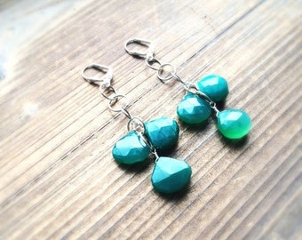 Emerald Green Chalcedony Silver Plated Chain Gemstone Earrings OOAK One of a Kind Handmade in Indiana Salame Jewelry Designs