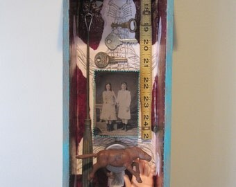 3D mixed media art, shadow box, assemblage art, found objects