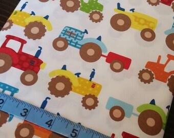 Tractors on White, RJR Fabrics, Apple Hill Farm Collection,Fabric,100% Cotton,Quilt Fabric,Apparel Fabric, Home Decor,Crafts, Boy, Half Yard