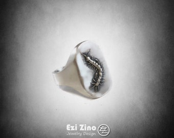 Millipede bug Ring Solid Sterling Silver 925 By Ezi Zino